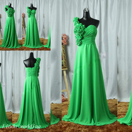 Wholesale Beautiful Emerald - Emerald Green Long Prom Dress Beautiful A Line Chiffon Flowers Women Special Occasion Dress Evening Party Gown