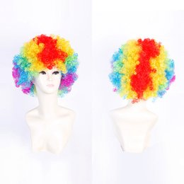 Wholesale Wholesale White Wigs - Z&F Afro Short Wig Clown Physics Cup Cosplay World Cup Wig Halloween Festival World Cup Competition Cheerleaders Women Man Unisex