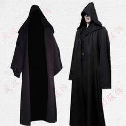 Wholesale Black Cosplay Cloak - Cos Jedi Knight cloak women cosplay costumes adult woman halloween pirate costume superhero cape performance robe costumes men wholesale