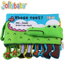Wholesale Red Developments - Jollybaby Whose Feet Baby Cloth Books With Rattles 3D Unfolding Activity Animal Book Infant Kids Early Development Toy