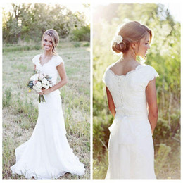 Wholesale Cheap Modest Dresses Sleeves - 2017 Vintage Lace V Neck Mermaid Wedding Dresses Cap Sleeve Modest Country Bridal Gowns Boho Beach Covered Button Wedding Gowns Cheap