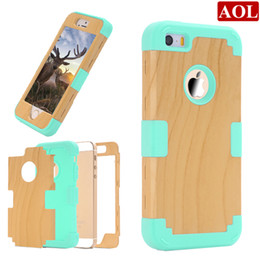 Wholesale Galaxy S Hybrid - 3in1 Wood Impact Hard & Soft Silicone Hybrid Case for iPhone SE 5 5s 5c S amsung Galaxy Note 5 N9200 Armor Phone Cases