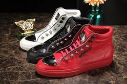 Wholesale White Bootie - Paris designers New Design High Top Shoes Bootie Leather Walk Sport Shoes Men Fashion Lace Up Casual Men Flats Men's Fashion 01#