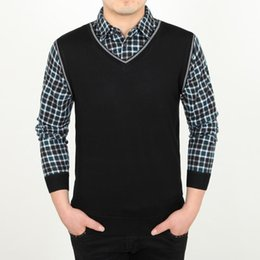 Wholesale Korean Men Casual Knitted Sweater - Wholesale-Men's Casual Sweaters Solid Soft Fake Two Piece Shirt Knitted Male Korean Style Pullovers V Neck Sweater Men in Men's