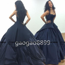 Wholesale Taffeta Lace Peplum Gown - 2016 Robyn Rihanna Style Celebrity Dresses Dark Navy Blue Dubai Arabic Sweetheart Backless Ball Gown Prom Evening Dresses Zac Posen
