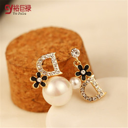 Wholesale D Pearls - pearl earrings asymmetric D letter luxury stud earrings for women flower pendientes 2015 fashion jewelry boucle d'oreille femme