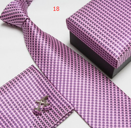 Wholesale Geometric Cufflinks - Free Shipping Neck Tie Set Necktie Cufflinks Men's Ties Polyester A Scot Hankies Striped Tower Pocket Square