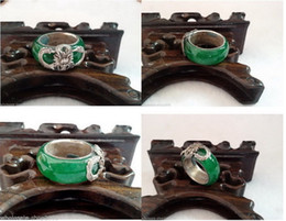 Wholesale China Green Jade Dragon - Wholesale Rare Tibet Silver Dragon Green Jade Jewelry Ring