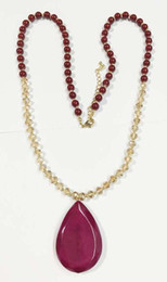 Wholesale Large Opal Necklace - Faceted glass beads string necklace with large resin tear drop,burgundy large tear drop pendant necklace opal beaded tear drop necklace