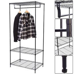 Wholesale metal shelfs - Clothing Garment Rack Shelving Wire Shelf Dress Portable Wardrobe 3-Tier