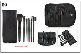 Wholesale Pink Kabuki - Professional 7pcs Makeup Brush Set Travel Cosmetic Tools Blush Eyeshadow Make Up Brushes Multi Color Cosmetic Brush With PU Bag Kabuki Brush