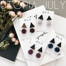 Wholesale Wood Flowers Wholesale - 2017 autumn and winter new earrings warm sweet handmade wood triangular plush ball pendant earrings