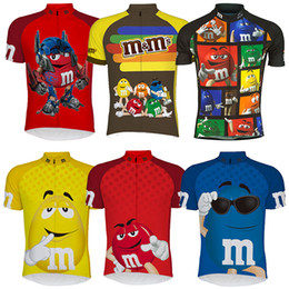 Wholesale Cycling Jerseys Sizing - Super Cute M&M's Cycling Jerseys Summer Style Shirt Thin Wicking Cycling Tops Size XS-4XL M Bike Wear 6 Colors For Men Women