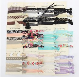 Wholesale Tie Print Set - Hair Ties Set Women Girl Leopard Lace Floral Star Printed Elastic Hair Tie Party Favors Tie Sets Sweet Hair Accessories 227