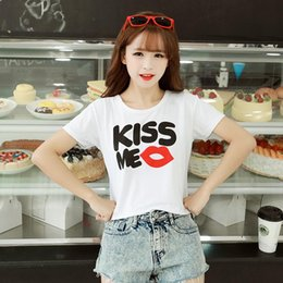 Wholesale Korean Summer W - 2016 Spring And Summer Ladies Korean New Pattern Student Fashion Self-cultivation W Crop Clothes Women White T Shirts T-shirt