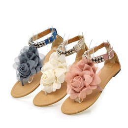 Wholesale Bohemia Shoes - Gladiator Women Sandals Bohemia Beaded Summer Flower Flat Heels Flip Flops Women Shoes Buckle Strap Sandals Size 34-43