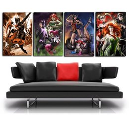 Wholesale Nude Woman Abstract Painting - Cat Woman Harley Quinn Poison Ivy Wonder Woman ,4 Pieces Home Decor HD Printed Modern Art Painting on Canvas  Unframed Framed