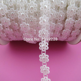 Wholesale Lace Trim For Sewing - Wholesale-10mm 27yds roll New Bridal Dress Beaded Lace Trim Pearl Flower Rhinestone Applique 2 Color Flatback Sew On Bead For Clothing