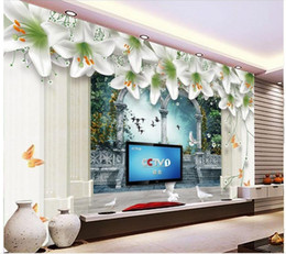 Wholesale Painting Interior Room - 3d wallpaper for room Fantasy lily backdrop European-style building large pillars interior painting classic wallpaper for walls