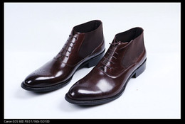 Wholesale Mens Business Boots - Fashion brown tan  black cotton lining warm mens ankle boots winter dress shoes genuine leather business shoe office boots