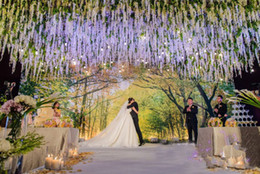 Wholesale Chinese Wedding Ideas - Amazing Artificial Flowers Simulation Wisteria Vine Wedding Ideas Decorations Long Short Silk Flowers 3 Forks Office Garden Home Dec.