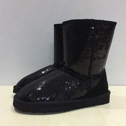 Wholesale Gold Shoes Mid Heel - 2017 winter fashion Australia Women Classic Sequin Snow Boots Women Real Leather Winter Warm glitter snow Boots Women Shoes size 35-41
