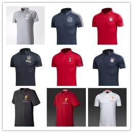 Wholesale Football Polo Shirts - Top quality 17 -18 Ajax AC Milan Jersey POLO Football Shirts 2017 2018 Real Madrid soccer jersey Shirts Polos Adults Sport Polo shirt