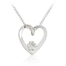 Wholesale Pets Recycling - Recycled Paw Print Heart Necklace Silver Hollow Love Heart shaped Pendant Necklace for Women Girl Dog Owners Pet Animal Jewelry