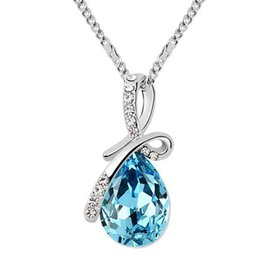 Wholesale Christmas Elements - Water Drop Necklace Pendants Crystal from Swarovski Elements White Gold Plated Women High Quality Necklace Fashion Jewelry 8315