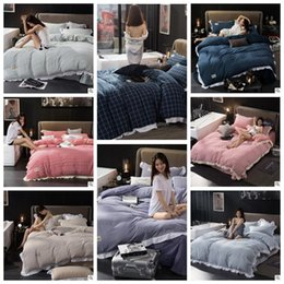 Wholesale King Size Duvet Covers - 24 Styles Striped Plaid Bedding Sets Plaid Duvet Covers for King Size Bed Plaid Bedding Duvet Cover Sheets Pillow Cover CCA7583 1set