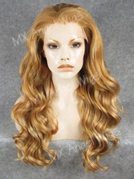 Wholesale Honey Blonde Lace Front Wigs - Iwona Hair Wavy Long Honey Blonde Light Blonde Mix Wig 7#27HR 613 Half Hand Tied Heat Resistant Synthetic Lace Front Wig