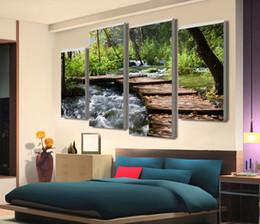 Cachoeiras lona de óleo on-line-Moda Arte Unframed 4 pcs Retro Cachoeira Definição Pictures Cópias Da Lona Decoração de Casa Sala de estar Pintura A Óleo Da Parede