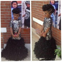 Wholesale Sequin Short Dress Feathers - Black Mermaid Girls Pageant Dresses Sparkly Bling Sequins Ruffles Feather Crew Neck Short Sleeve 2016 Kids Formal Flower Girl Gowns