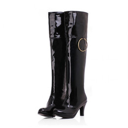 Wholesale Black Patent Leather 37 - boots Patent Leather long Women Large size small yards 32 33 37 38 39 40 41 42 43 44 45 46 high heel 7CM EUR Size 31-47