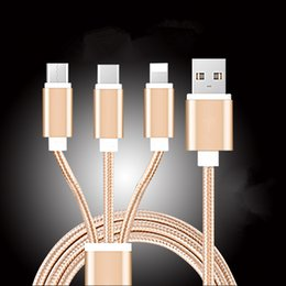 Wholesale Iphone Charger Nylon - For Android apple iPhone 6 6s 7 plus Micro USB 3.0 Sync three in one data line Cable Charging adapter Nylon braided