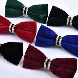 Wholesale Marriage Music - The new marriage banquet velvet bow tie color diamond fine cashmere metal wholesale trade