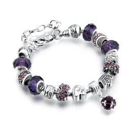Argento Tibetano Fine Pandora Bracciali con perline Grandi cristalli di vetro di fascini perline braccialetto fai da te 13 colori opzionali all'ingrosso di fabbrica da grandi branelli di vetro all'ingrosso fornitori