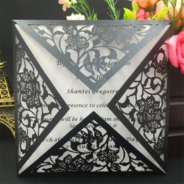 Wholesale Wedding Invitation Personalized - 50pcs Personalized Laser Cut Wedding Invitations Cards Wedding Decoration Rsvp Cards Birthday Greeting Cards