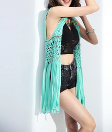 Wholesale Cotton Summer Jackets For Women - New Summer Sexy Women Cotton Hollow Knitted Vest Ladies Long Coat Solid Tassel Sleeveless Beach Jacket for women