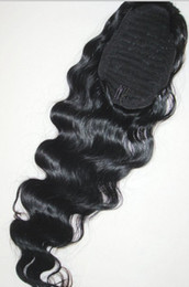 Wholesale human hair extensions clip wave - 140g Loose wave Human Hair Ponytail Extensions Peruvian Virgin Hair Ponytail hairpiece with black drawstring clip in 4 colors aviable 18inch