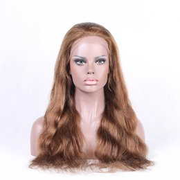 Wholesale Colorful Brazilian Hair - Virgin Wavy Human Hair Wigs Medium Brown Swiss Lace Big Curly Full Lace Wig and Colorful Lace Front Wig for Cheap LX015