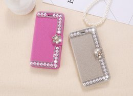 Wholesale Iphone Case Pearls Flip - Vintage Pearl Silk Leather Case For iPhone 7 7 Plus Card Flip Wallet Bag Pouch Cover For iPhone 7 Plus Case Holder Fundas