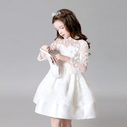 Wholesale Fl Flowers - 2016 the new Europe and the United States children's wear girls princess dress long sleeve lace flower girl dress in the summer of bitter fl