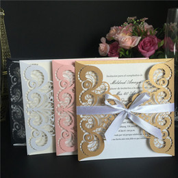 Wholesale Rhinestone Wedding Invitations - Pink White Gold Black Laser Cut Wedding Invitations Cards with Rhinestone Flowers Engagement for Marriage Birthday Party Cards