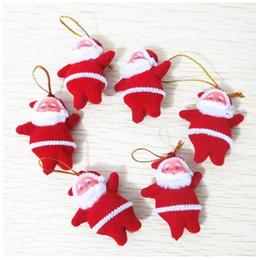 Нейлоновые куклы онлайн-Нейлон Рождественская елка украшения Санта-Клаус елочные украшения висит украшения Красный крошечные куклы Санта Бесплатная доставка