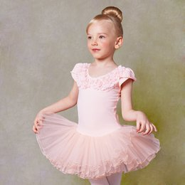 Wholesale Children Dance Wear Shorts - Short Sleeve Pink Flower Ballet Tutu For Girls O-neck Ballet Dress With Pearl Preschool Children Ballet Clothes Stage Show Wear