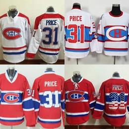 Bandeiras brancas baratas on-line-Venda quente Barato Mens Montreal Canadiens 31 Preço Carey 100% Bordado Costurado Logotipo Branco Bandeira Vermelha Hóquei No Gelo Jerseys Aceitar Ordem Da Mistura