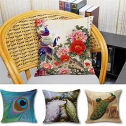coussins de paon Promotion 2016 Brand New Peacock Peafowl Tail Fleur Carré Coton Lin Coussin Taie d'oreiller Taie D'oreiller Coussin Maisons Taie D'Oreiller 240500