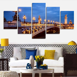 Wholesale Canvas Scenic Paintings - 5 Piece Picture Hot Sell Abstract Scenic Bridge Modern Home Wall Decor Painting Canvas Art HD Print Painting For Living Room