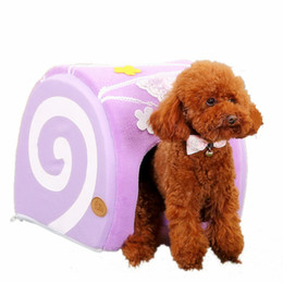 Wholesale Cute Green Cake - Cake Shaped Pet Dog Kennel Teddy Pet Candy Small Dogs Cat Nest Puppy Dog Bed With Cute Bowknot Pink Green Purple GP160401-23